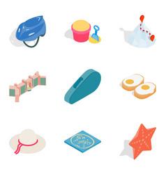 active lifestyle icons set isometric style vector image