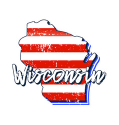american flag in wisconsin state map grunge style vector image