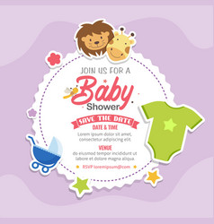 Baby shower theme invitation template vector
