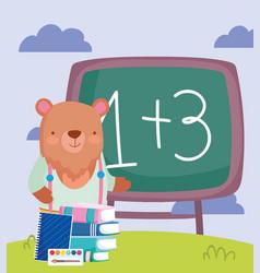 back to school bear chalkboard books notepad vector image
