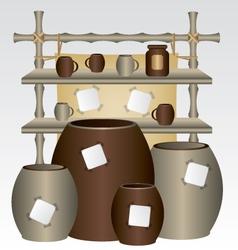 Bamboo market shelf and mugs vector image