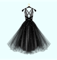 Beautiful black dress for special event vector