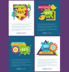 Best offer with 50 off online promo banners set vector
