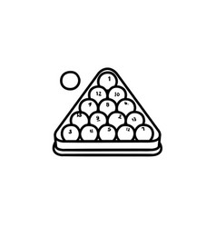 billiards rack hand drawn sketch icon vector image