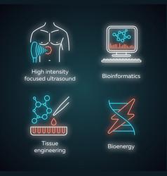 biotechnology neon light icons set bioengineering vector image