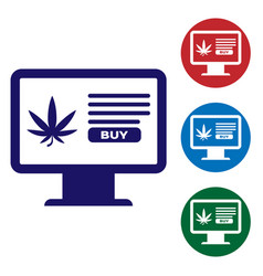 blue computer monitor and medical marijuana or vector image
