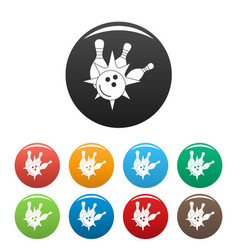 bowling strike icons set color vector image
