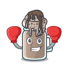 Boxing milkshake character cartoon style vector