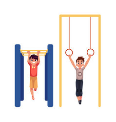 Boys hanging on gymnastic rings and monkey bars at vector