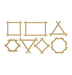 brown bamboo frames flat set vector image