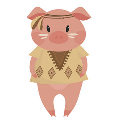 cartoon pig indian a cute vector image