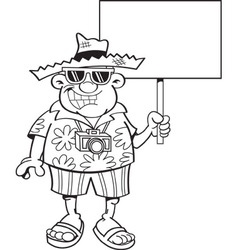 Cartoon tourist holding a sign vector image