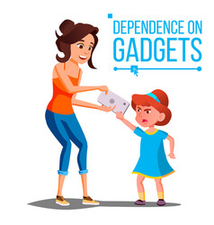 Children s gadget dependence mother takes vector