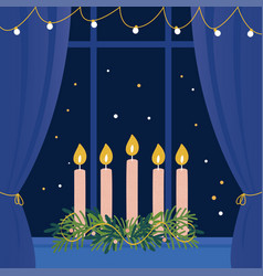 Christmas advent wreath with candles on window vector