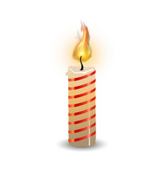 christmas candle with fire flame realistic vector image