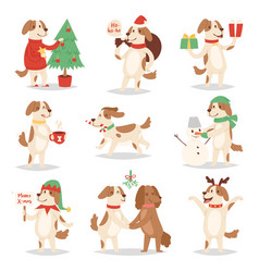 Christmas dog cute cartoon puppy characters vector