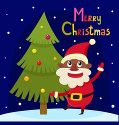 Christmas greeting card with cartoon african santa vector