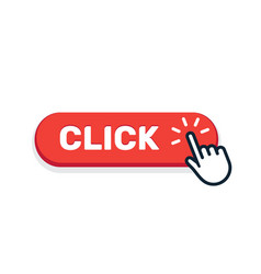click here button with hand icon click web vector image