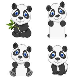 collection funny cartoon panda vector image