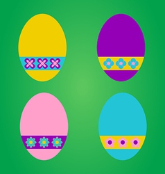 Colourful easter eggs on green background vector