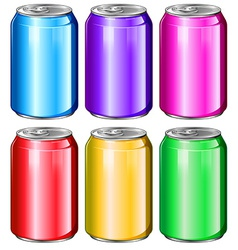 Colourful soda cans vector image