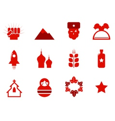 Communism and russia icons vector