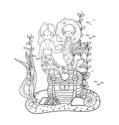 Couple mermaids with treasure chest undersea vector