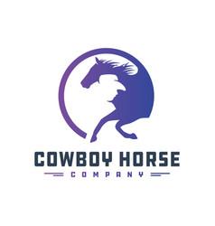 cowboy rider logo design vector image