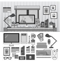 designer working place line monochrome vector image
