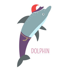 Dolphin in jeans and cap childish book character vector