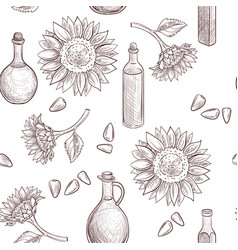Drawing seamless pattern with sunflower oil vector