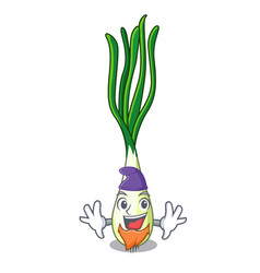 Elf character green onion on the table vector