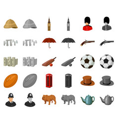 England country cartoonmonochrom icons in set vector
