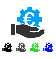 Euro development service hand flat icon vector