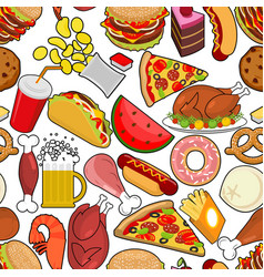 Food seamless pattern feed ornament meat vector