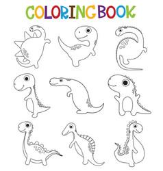 Funny cartoon dinosaurs collection coloring book vector