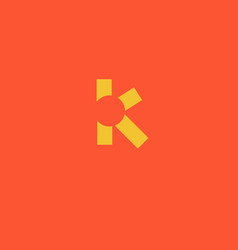 geometric yellow logo letter k and suns rays vector image