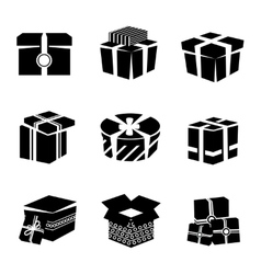 Gift box black and white icons set vector image