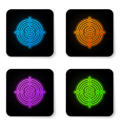 glowing neon target with dollar symbol icon vector image