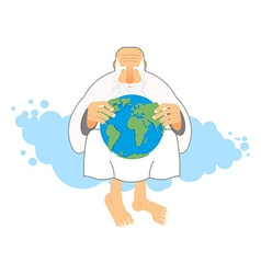 God holds Earth Old man sits in heaven keeps vector image