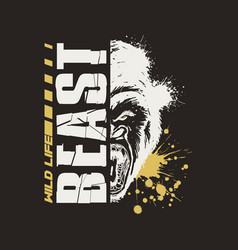 gorilla graphic design t-shirt wild life beast vector image
