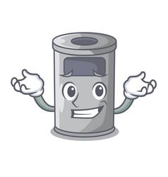 Grinning cartoon steel trash can in the door vector