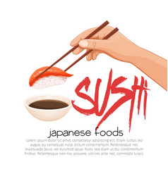 Hand with chopsticks sushi vector