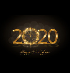 happy new year 2020 with gold clock vector image