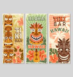 Hawaii retro banners aloha tourism summer vector
