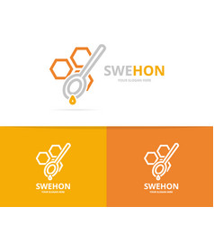 Honeycombs and spoon logo combination vector
