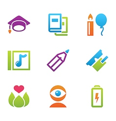 Icon set education and science color vector