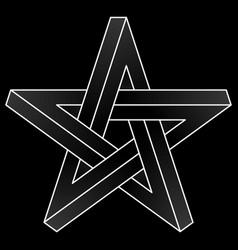 Impossible pentagram icon vector