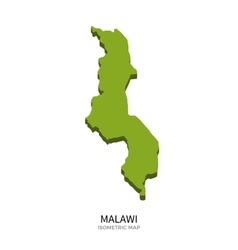 Isometric map of Malawi detailed vector
