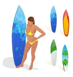 Isometric Woman is standing with a surfboard in vector image